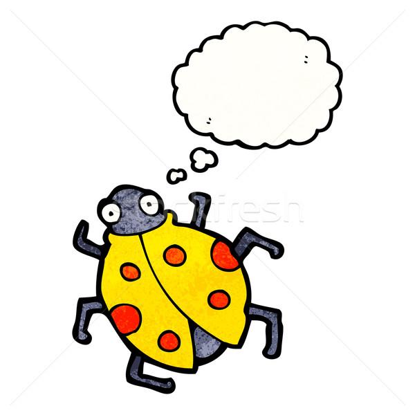 Karikatür uğur böceği Retro balon çizim fikir Stok fotoğraf © lineartestpilot