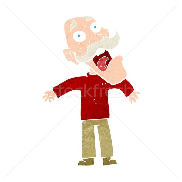 Cartoon испуганный старик стороны человека дизайна Сток-фото © lineartestpilot
