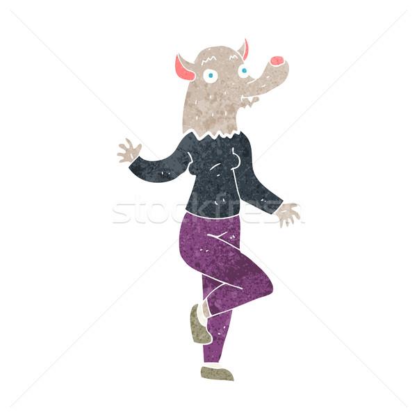 Karikatür dans kurt adam kadın el dizayn Stok fotoğraf © lineartestpilot