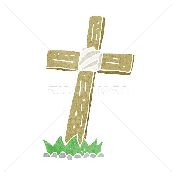 Cartoon legno cross tomba mano design Foto d'archivio © lineartestpilot