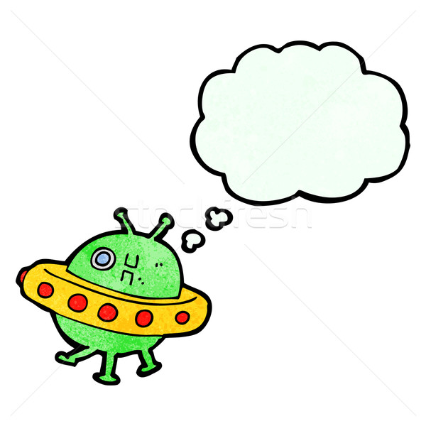 cartoon UFO with thought bubble Stock photo © lineartestpilot