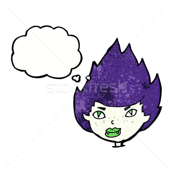 漫画 吸血鬼 頭 思考バブル 女性 手 ストックフォト © lineartestpilot
