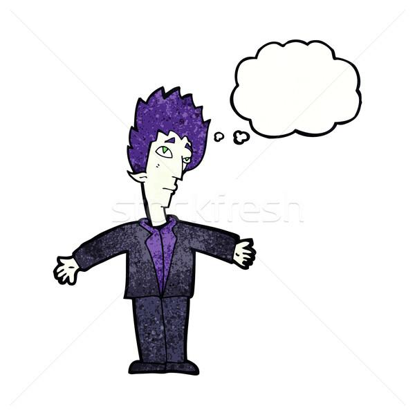 Cartoon вампир человека мысли пузырь стороны дизайна Сток-фото © lineartestpilot