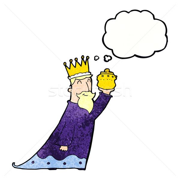 Um três sábio homens balão de pensamento mão Foto stock © lineartestpilot