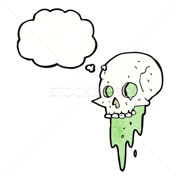 gross halloween skull cartoon with thought bubble Stock photo © lineartestpilot
