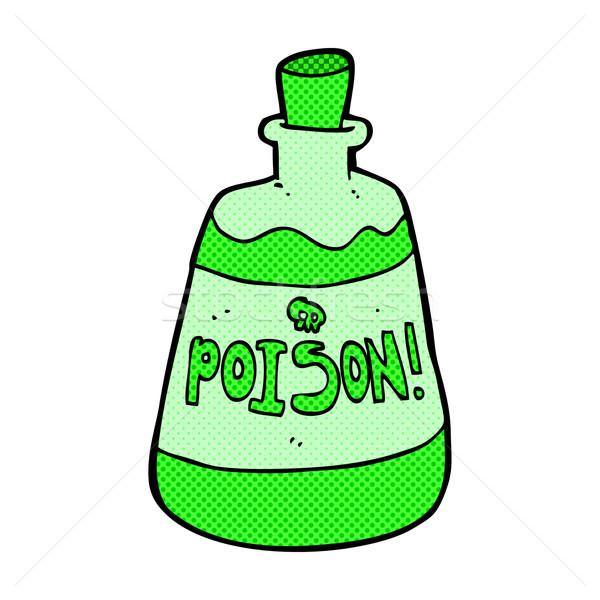 Fumetto cartoon bottiglia veleno retro Foto d'archivio © lineartestpilot