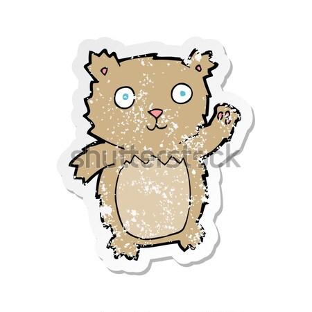 Komische cartoon verlegen teddybeer retro Stockfoto © lineartestpilot
