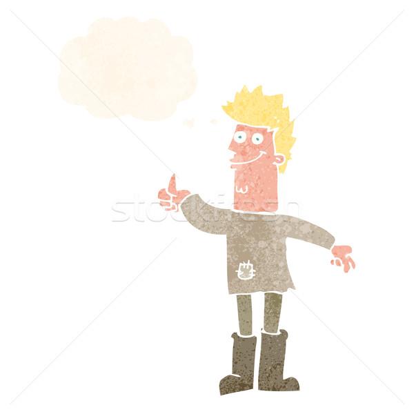Cartoon positief denken man gedachte bel hand Stockfoto © lineartestpilot