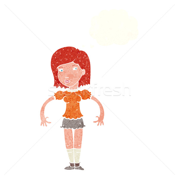 cartoon woman looking sideways with thought bubble Stock photo © lineartestpilot