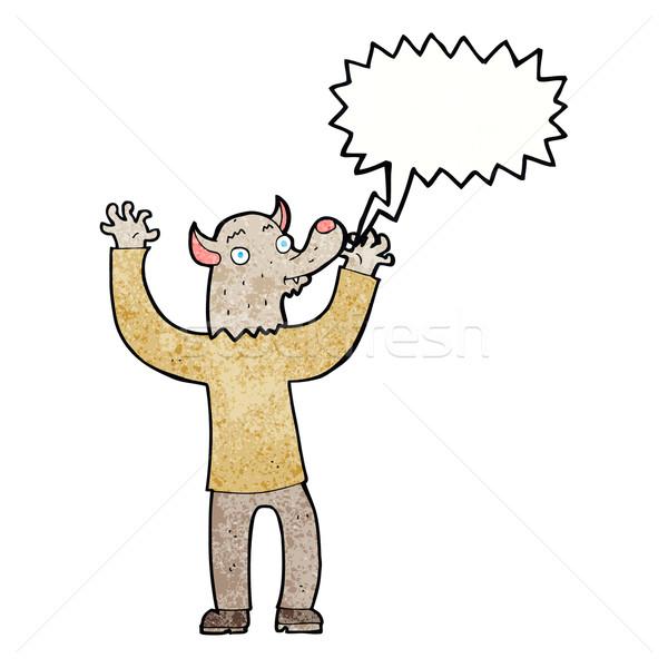 Karikatür mutlu kurt adam adam konuşma balonu el Stok fotoğraf © lineartestpilot