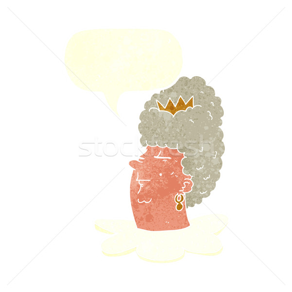 Stock photo: cartoon queen's head with speech bubble