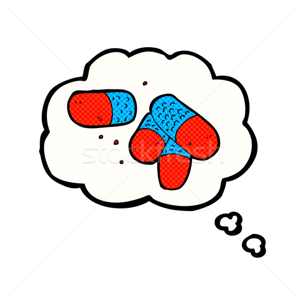 cartoon painkillers with thought bubble Stock photo © lineartestpilot