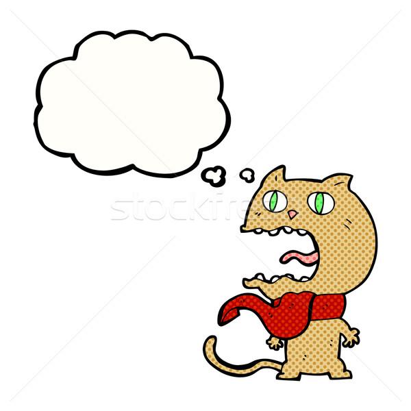 Cartoon przestraszony kot bubble myśl strony projektu Zdjęcia stock © lineartestpilot