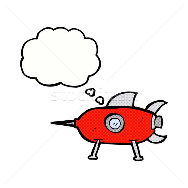 Desenho animado espaço foguete balão de pensamento mão projeto Foto stock © lineartestpilot