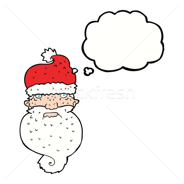 cartoon grim santa face with thought bubble Stock photo © lineartestpilot