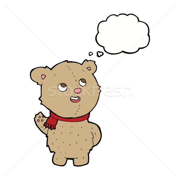 Cartoon cute teddybeer sjaal gedachte bel hand Stockfoto © lineartestpilot