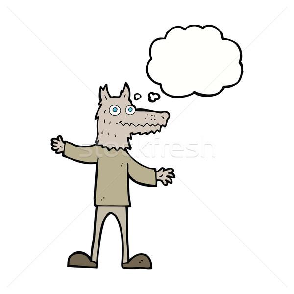 Desen animat lup om bule gandire mână proiect Imagine de stoc © lineartestpilot