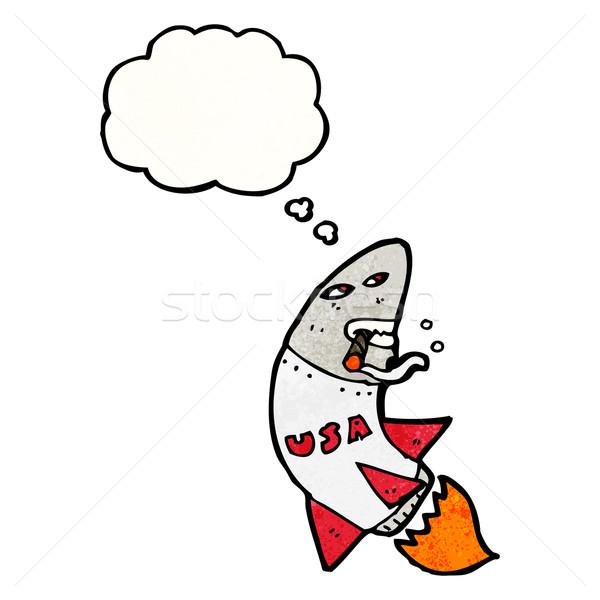 Cartoon ракета курение сигару текстуры стороны Сток-фото © lineartestpilot