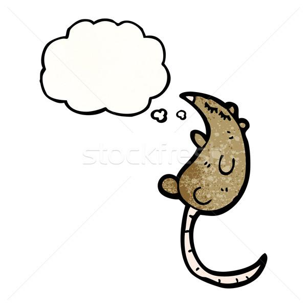 Karikatür sıçan düşünce balonu konuşma Retro düşünme Stok fotoğraf © lineartestpilot