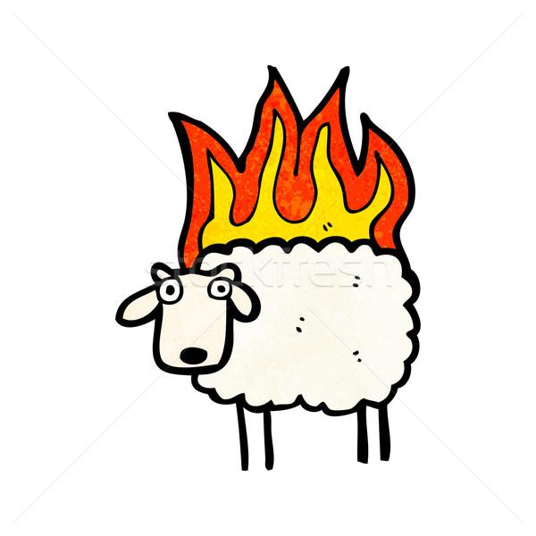 burning sheep cartoon Stock photo © lineartestpilot