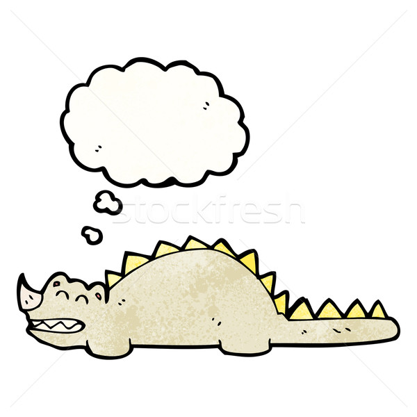 cartoon dinosaur with thought bubble Stock photo © lineartestpilot