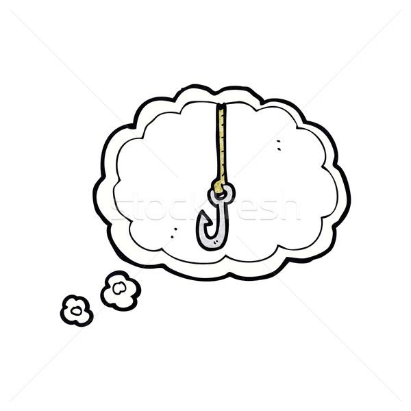 Cartoon haak gedachte bel hand ontwerp kunst Stockfoto © lineartestpilot