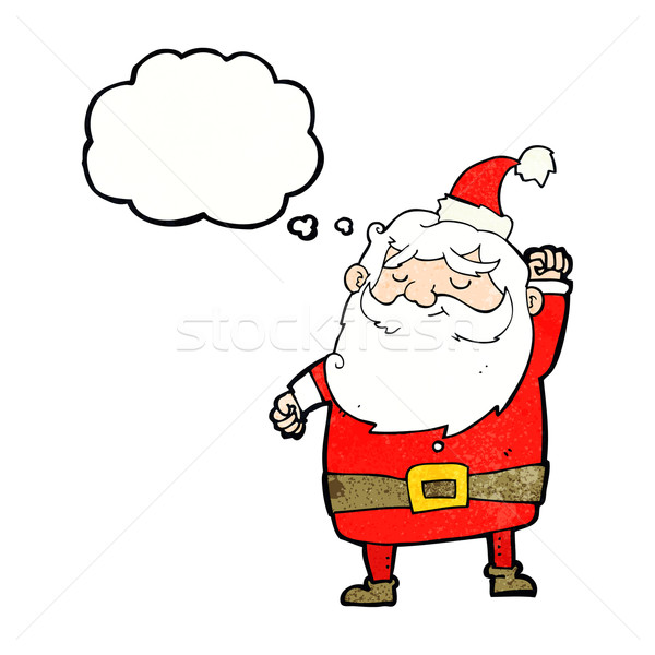 cartoon santa claus punching air with thought bubble Stock photo © lineartestpilot