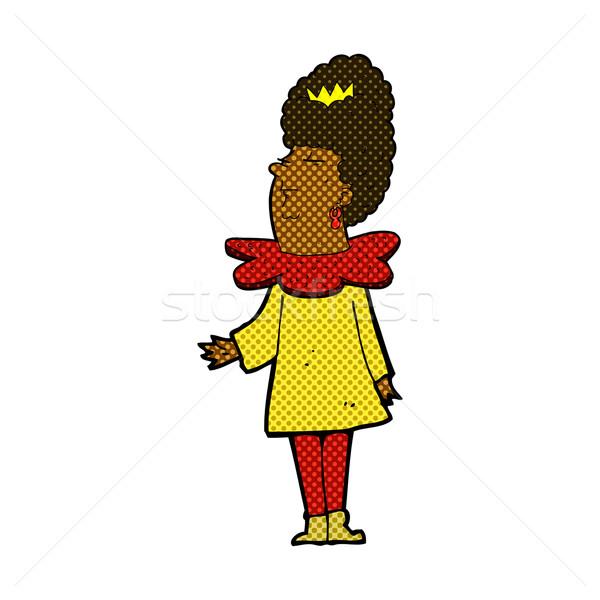 Komik karikatür kraliçe Retro stil Stok fotoğraf © lineartestpilot
