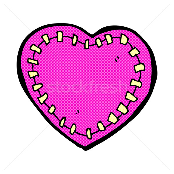 comic cartoon stitched heart Stock photo © lineartestpilot