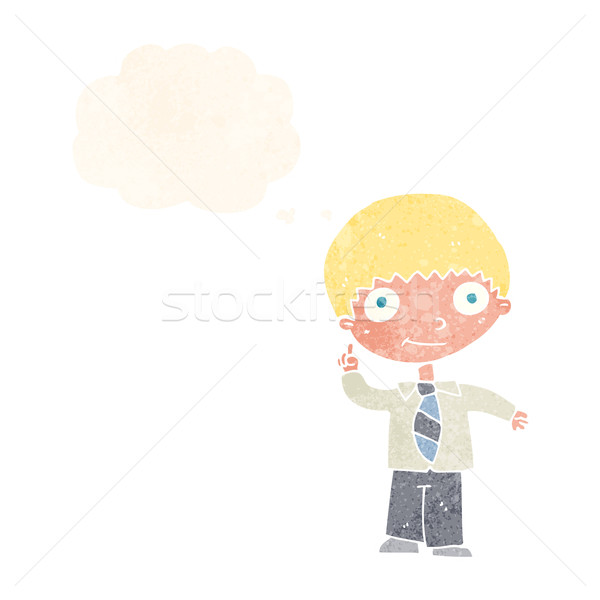 cartoon school boy with idea with thought bubble Stock photo © lineartestpilot