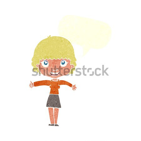 Desenho animado nervoso mulher balão de pensamento mão projeto Foto stock © lineartestpilot
