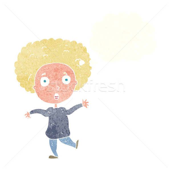cartoon startled person with thought bubble Stock photo © lineartestpilot