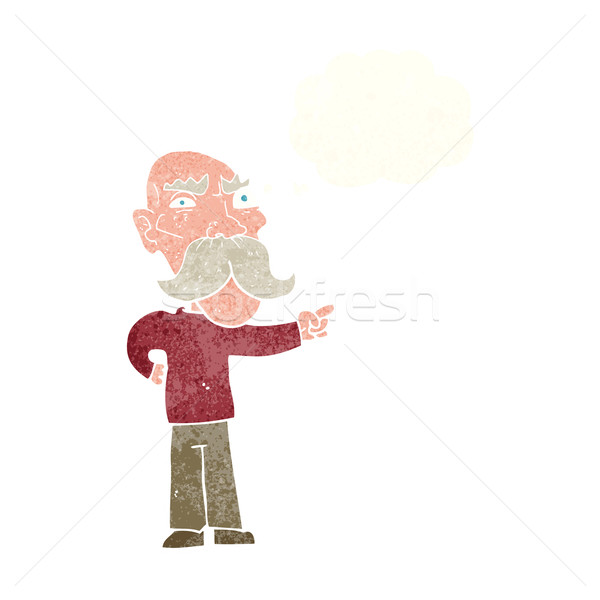cartoon annoyed old man pointing with thought bubble Stock photo © lineartestpilot