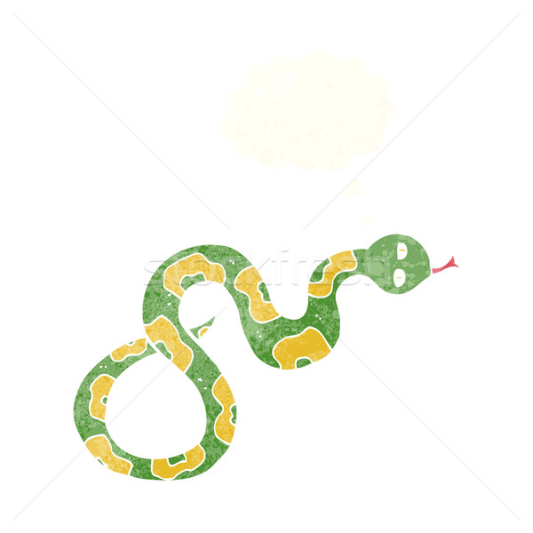 Cartoon serpent bulle de pensée main design animaux Photo stock © lineartestpilot