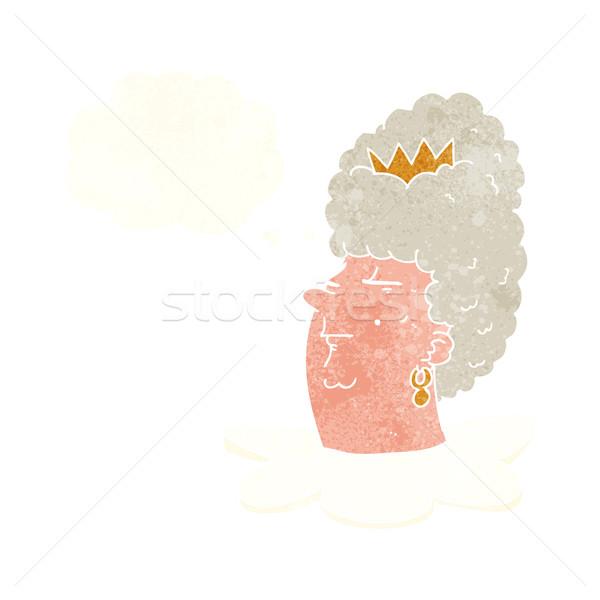 Karikatur Königin Kopf Gedankenblase Hand Design Stock foto © lineartestpilot