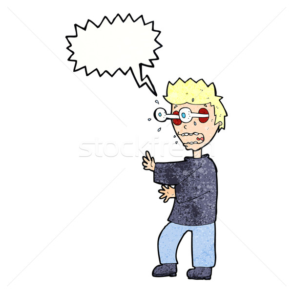 cartoon terrified boy with speech bubble Stock photo © lineartestpilot