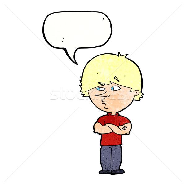 Cartoon verdacht man tekstballon hand ogen Stockfoto © lineartestpilot