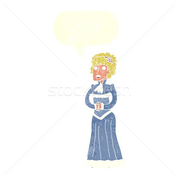 cartoon shocked victorian woman with speech bubble Stock photo © lineartestpilot