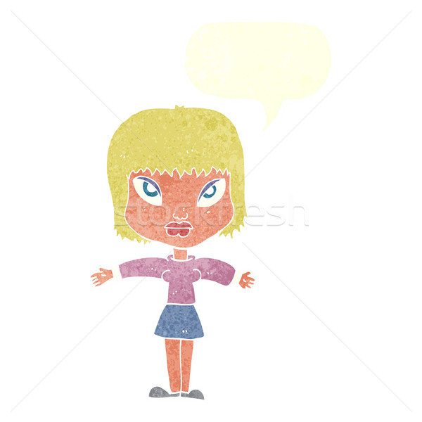 cartoon woman with outstretched arms with speech bubble Stock photo © lineartestpilot