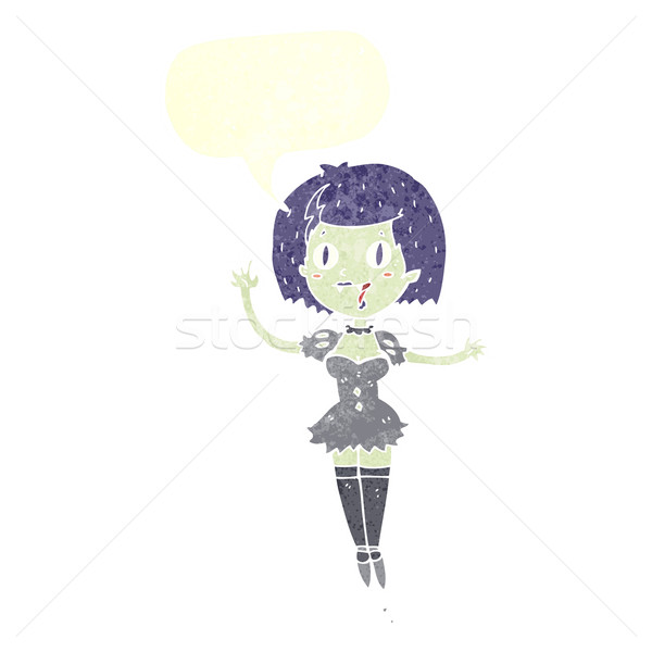 cartoon happy vampire girl with speech bubble Stock photo © lineartestpilot