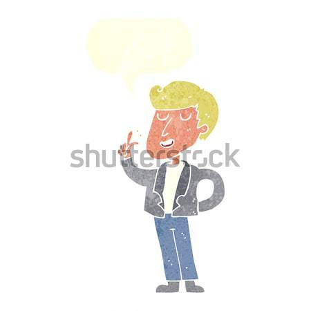 cartoon cool guy snapping fingers with speech bubble Stock photo © lineartestpilot