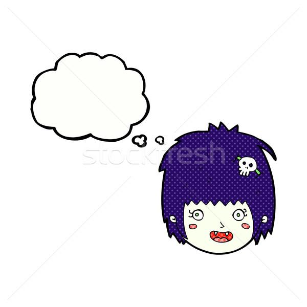 Karikatür mutlu vampir kız yüz düşünce balonu Stok fotoğraf © lineartestpilot