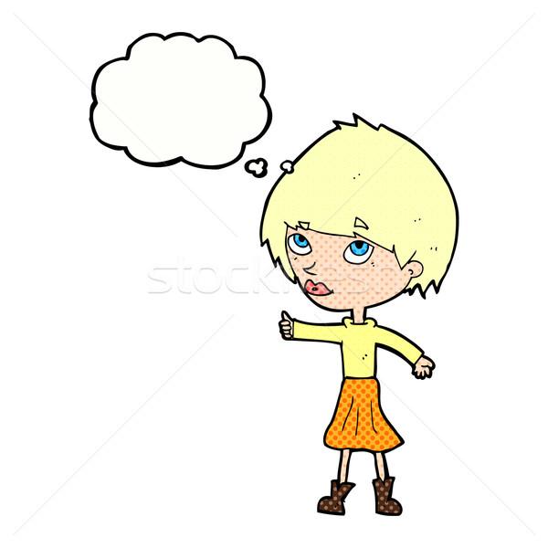 Cartoon женщину символ мысли пузырь стороны Сток-фото © lineartestpilot