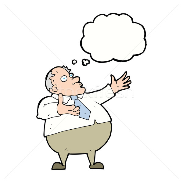 cartoon exasperated middle aged man with thought bubble Stock photo © lineartestpilot