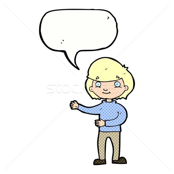 Cartoon gelukkig persoon tekstballon hand man Stockfoto © lineartestpilot