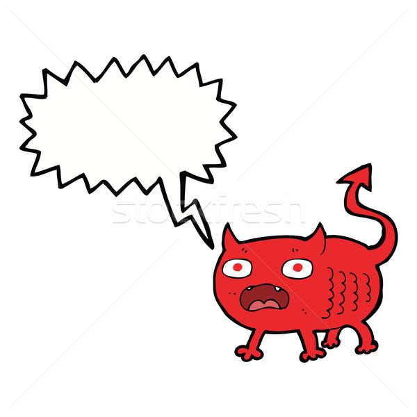 cartoon little imp with speech bubble Stock photo © lineartestpilot