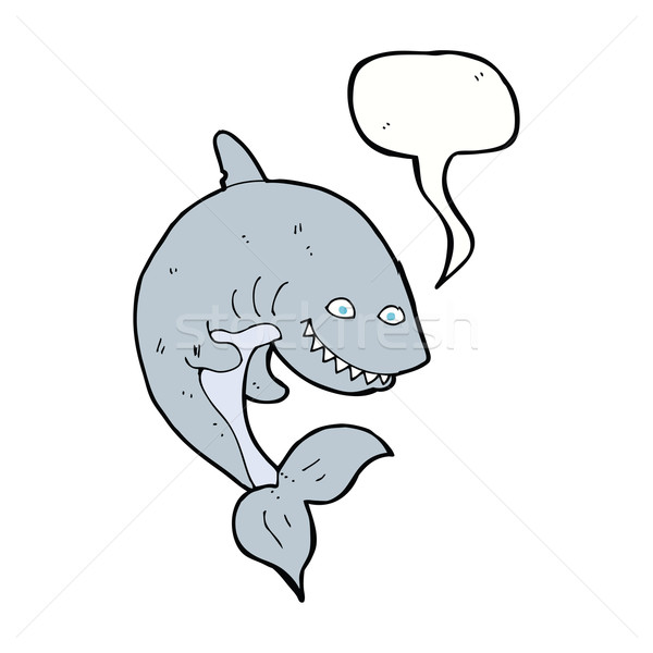 cartoon shark with speech bubble Stock photo © lineartestpilot