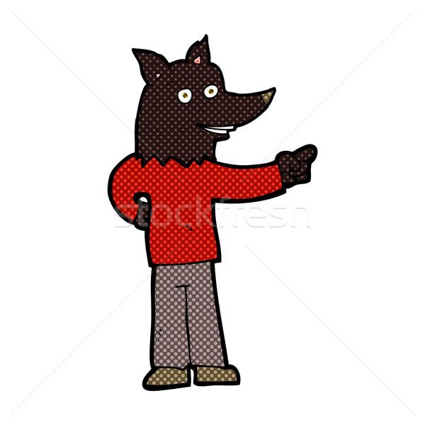комического Cartoon волка человека указывая ретро Сток-фото © lineartestpilot
