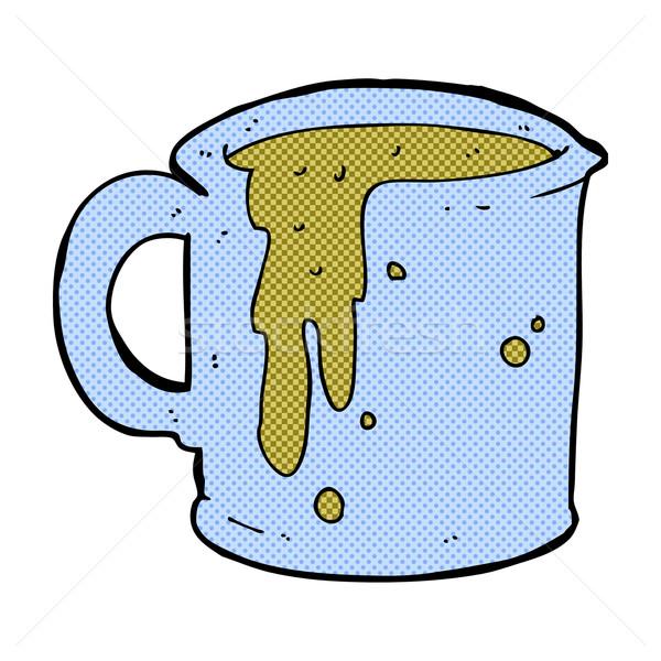 Komische cartoon koffiemok retro stijl Stockfoto © lineartestpilot