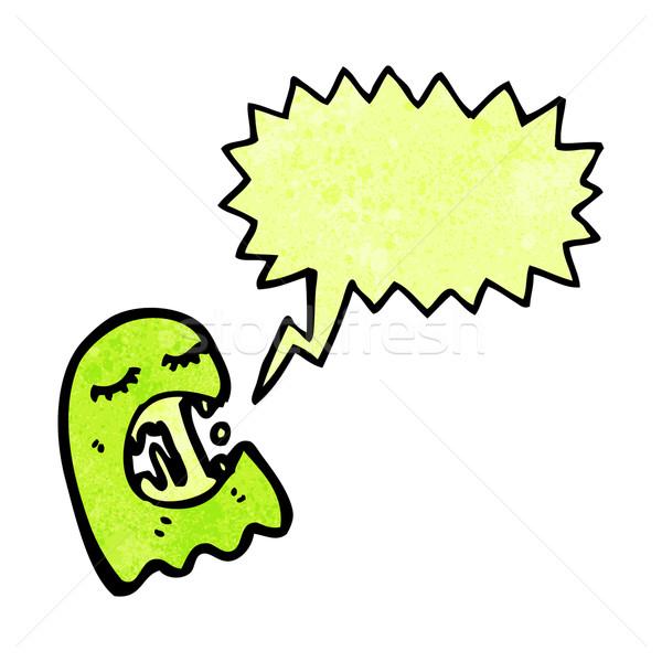 Sümüksü hayalet karikatür konuşma Retro çizim Stok fotoğraf © lineartestpilot